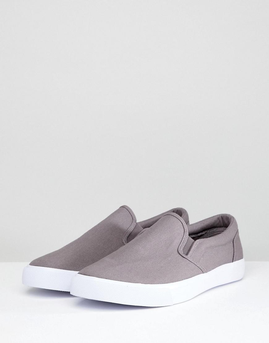 e68806c8f9b42 Lyst - ASOS Wide Fit Slip On Sneakers In Gray Canvas in Gray for Men