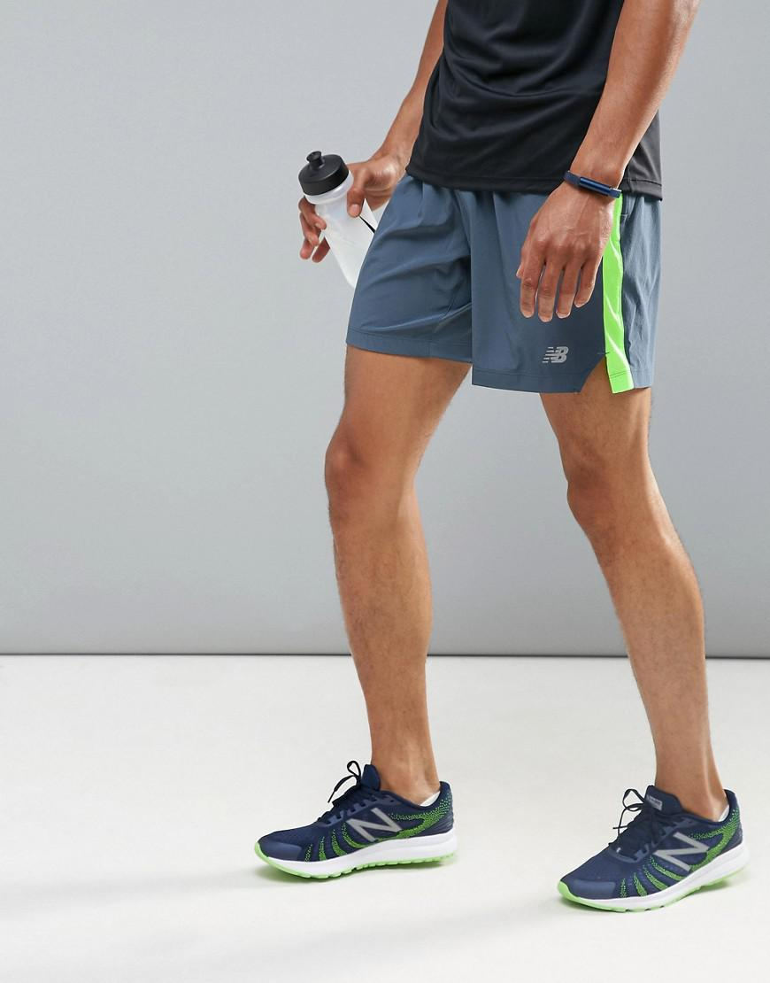 3d4ebd21 New Balance Gray Running Impact 7 Inch Shorts In Grey Ms73237thn for men
