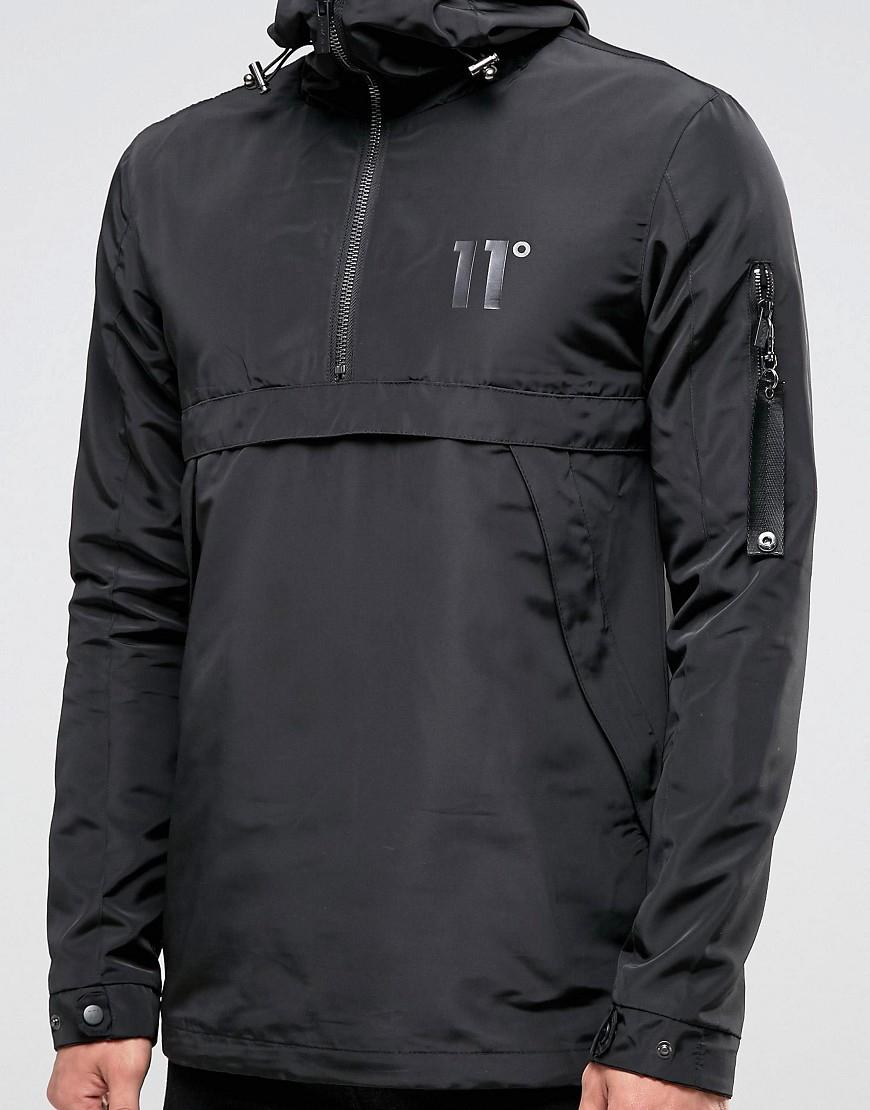 11 Degrees Lightweight Overhead Jacket In Black For Men Lyst