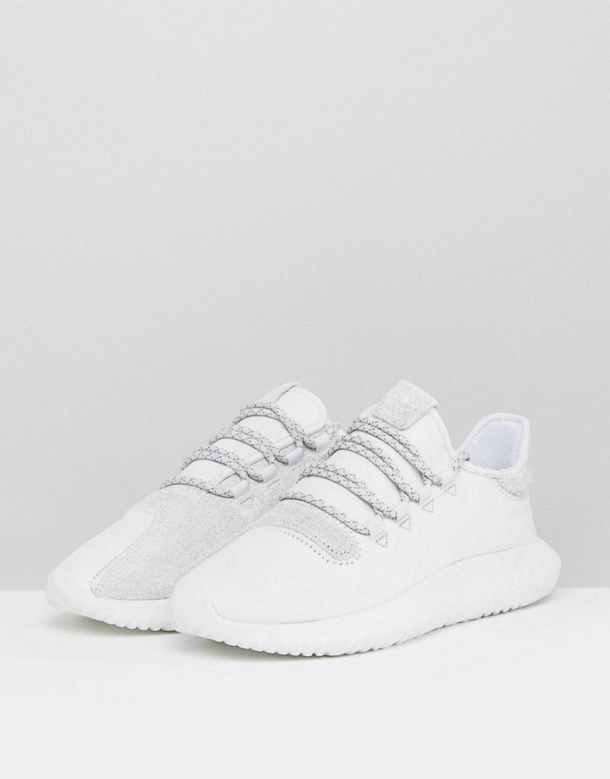 adidas Originals Leather Tubular Shadow Trainers In White for Men