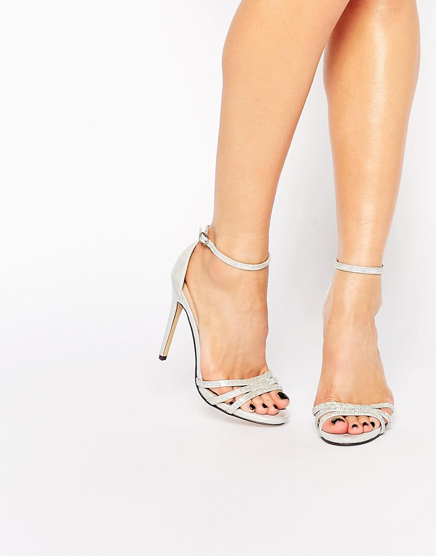 57731e3d979 True Decadence Silver Embellished Barely There Heeled Sandals ...