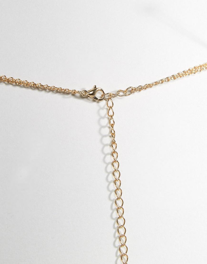 1a1f0b194dc0f Lyst - ASOS Fine Chain Bralette Harness in Metallic