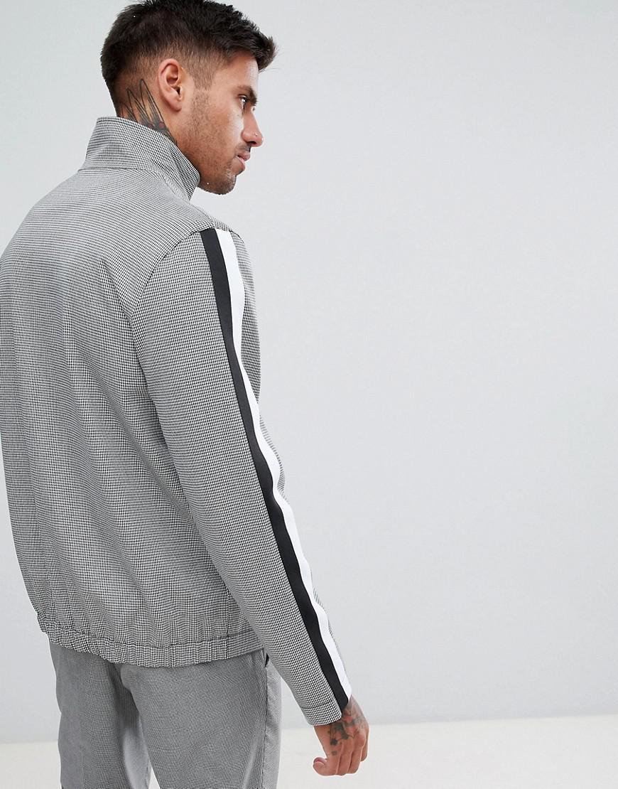 River Island Denim Harrington Jacket With Taping in Black for Men