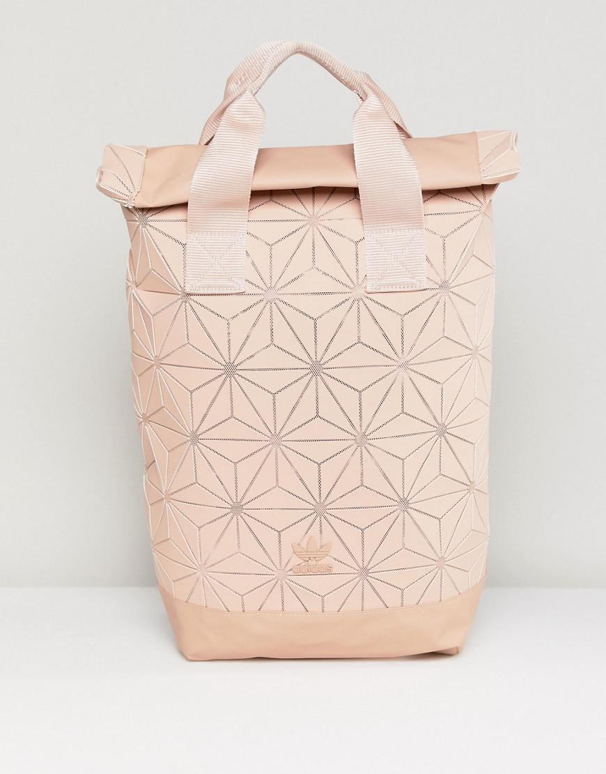 12e721bc30 Lyst - adidas Originals Pink Geometric Rolltop Backpack in Natural