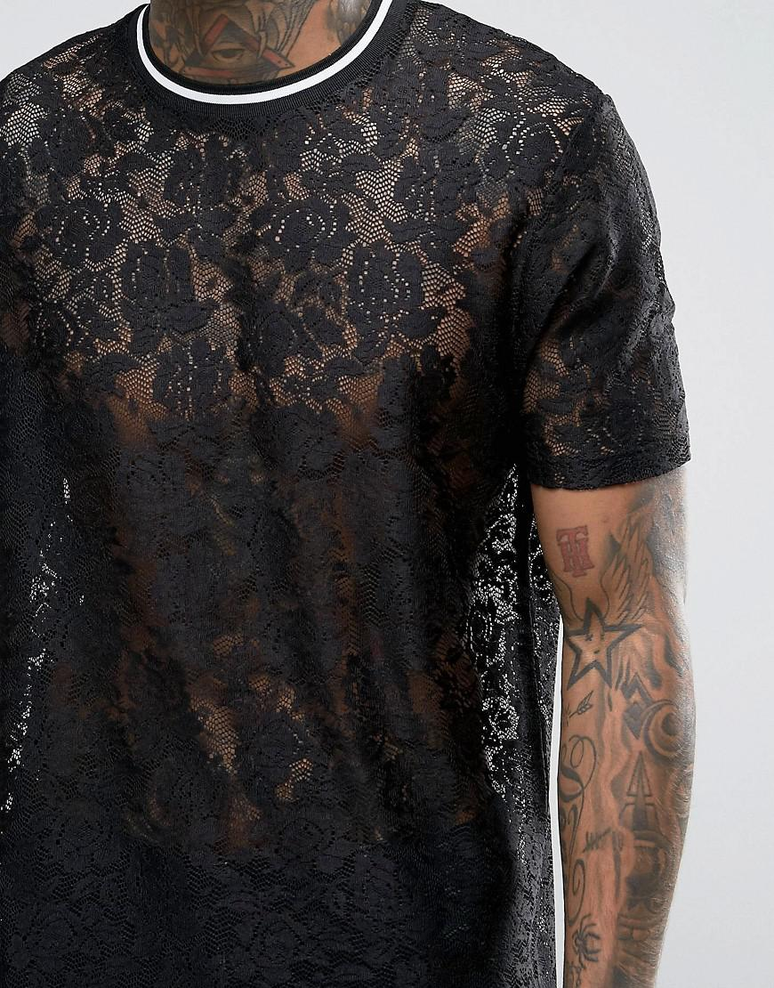 Lyst asos longline t shirt in lace in black for men for Asos design free t shirt