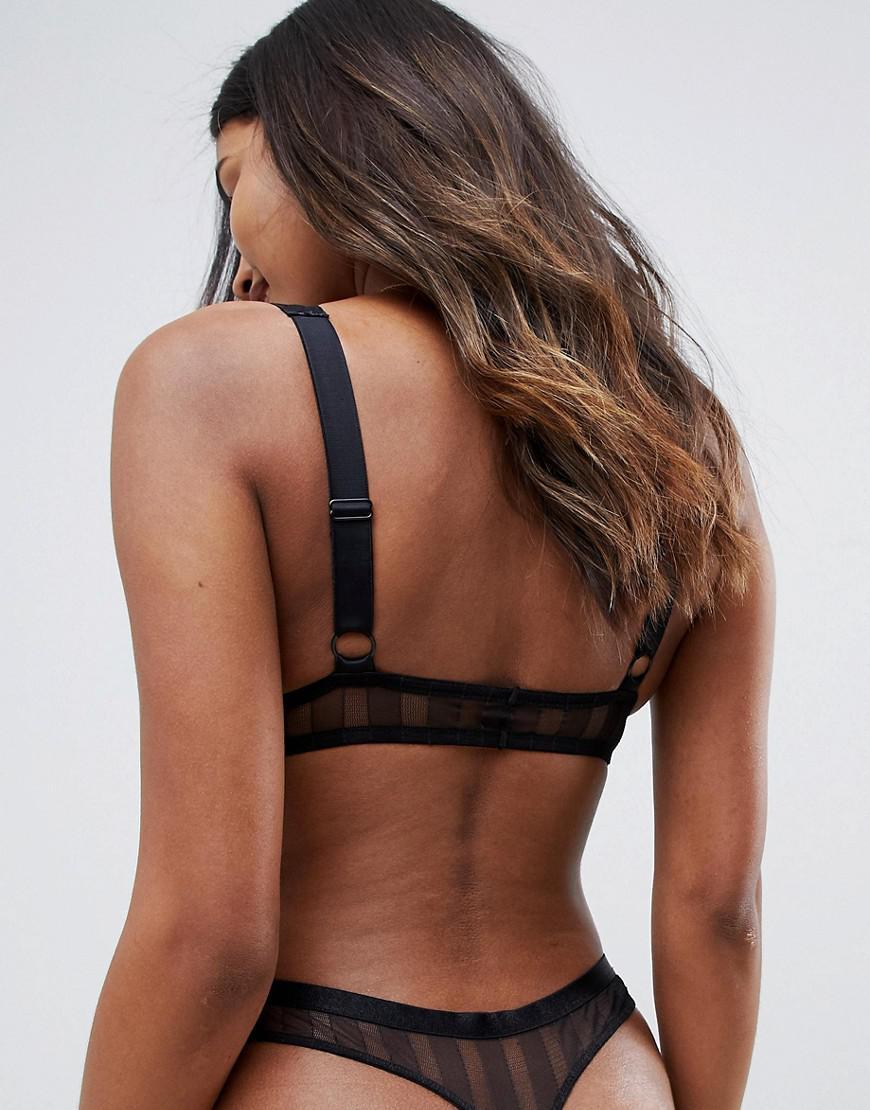 42e56b0d22113 Lyst - ASOS Stripe Lace Soft Longline Bra in Black