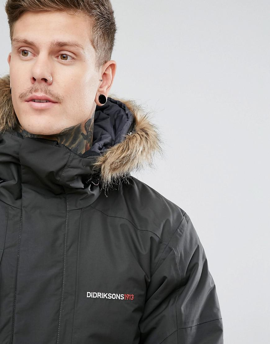 f8ec90ca Didriksons 1913 Marc Parka In Grey With Faux Fur Collar In Grey in ...