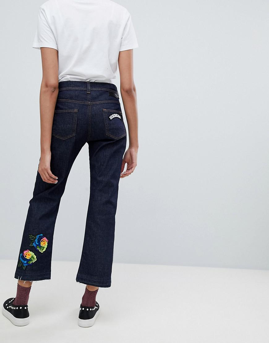 Eyelet Side Seam Crop Straight Leg Jeans - Mid wash blue Iceberg 4q8v4WIN