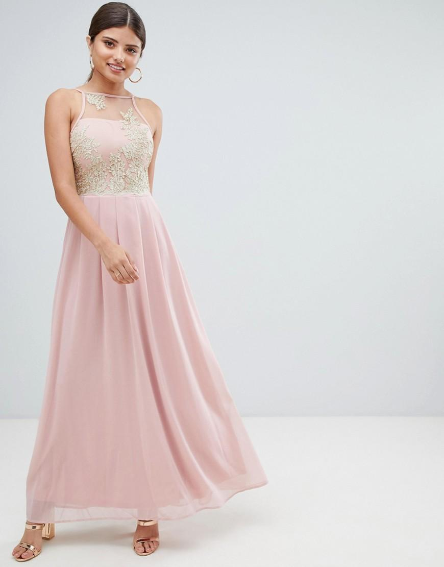 Ax Paris Tulle Maxi Dress With Embellished Detail in Pink - Lyst 1d3ae73dd