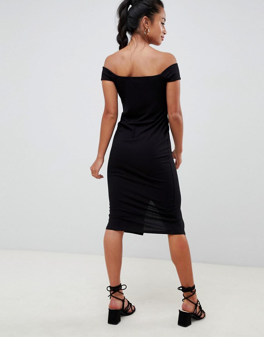 c6808feb36ce0 ... Asos Design Petite Off Shoulder Popper Front Midi Dress In Rib - Lyst.  View fullscreen