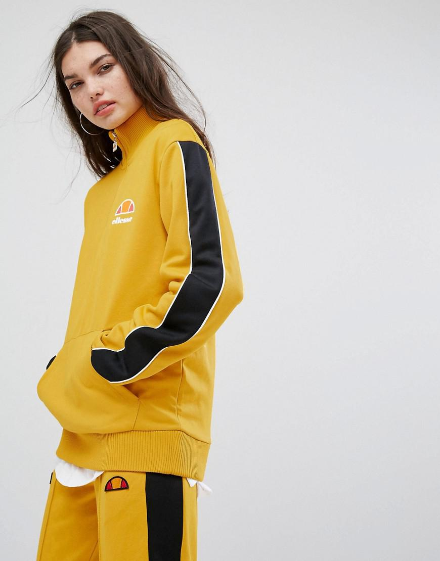 d1c9e7e34f Ellesse Yellow High Neck Sweatshirt With Half Zip And Sports Stripe  Tracksuit