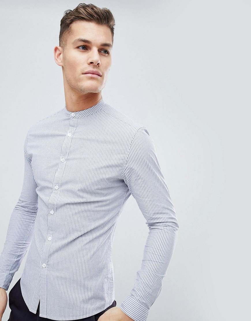ff02300c145 ASOS Smart Skinny Stripe Work Shirt With Grandad Collar in Blue for ...