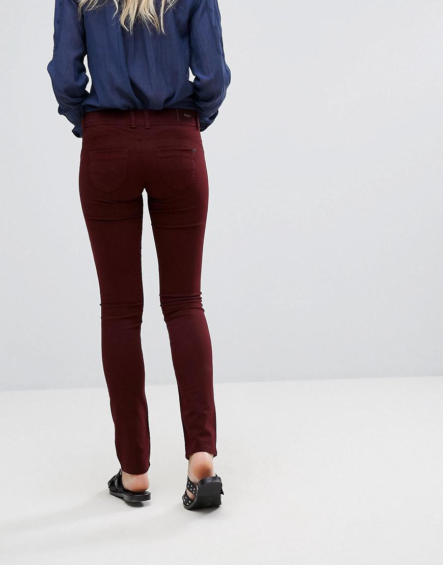 Pepe Jeans Denim New Brooke Skinny Jeans in Red