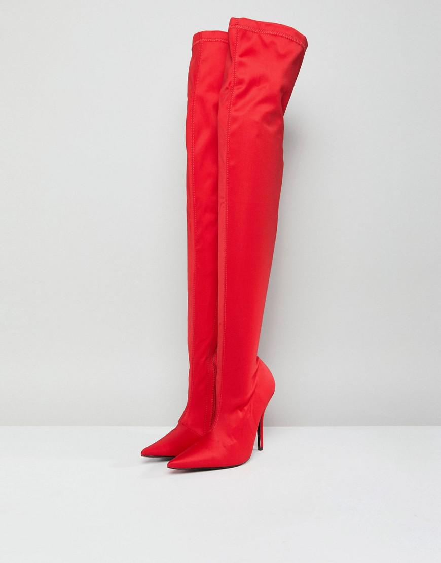 Public Desire Synthetic Refuge Over The Knee Boots in Red