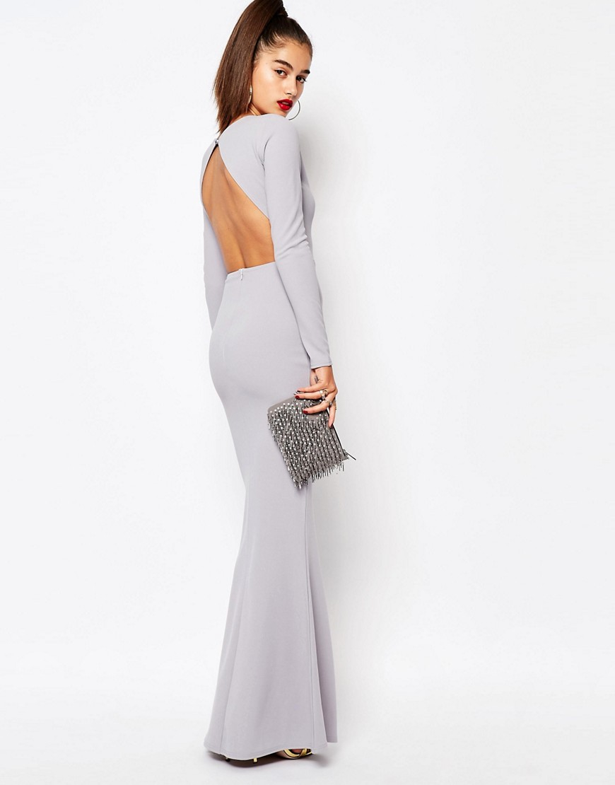 Missguided Long Sleeve Open Back Maxi Dress in Gray  Lyst