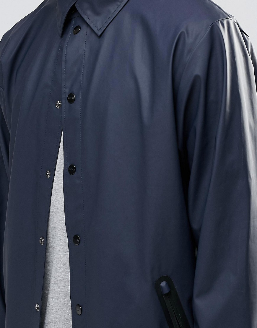 Rains Synthetic Coach Jacket With Detachable Hood In Blue for Men