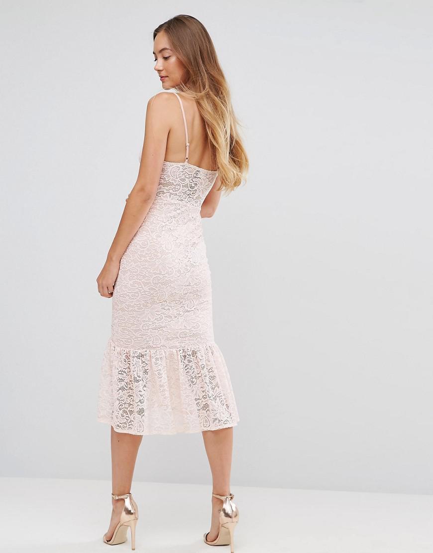 73e0f09906 ASOS Lace Plunge Pephem Midi Dress in Pink - Lyst