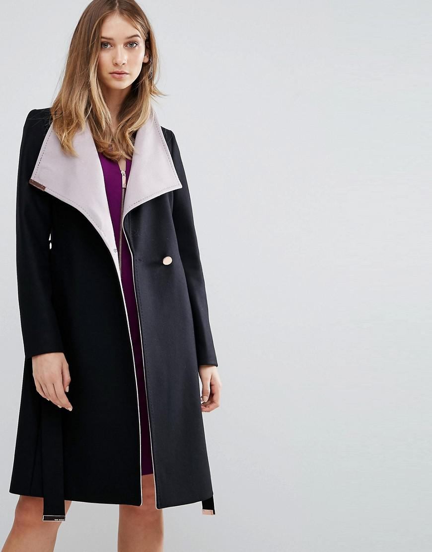 3ad876eb0 Lyst Lyst Lyst Contrast Long Baker Black in Ted Ted Ted Wrap Coat zn0qwZx