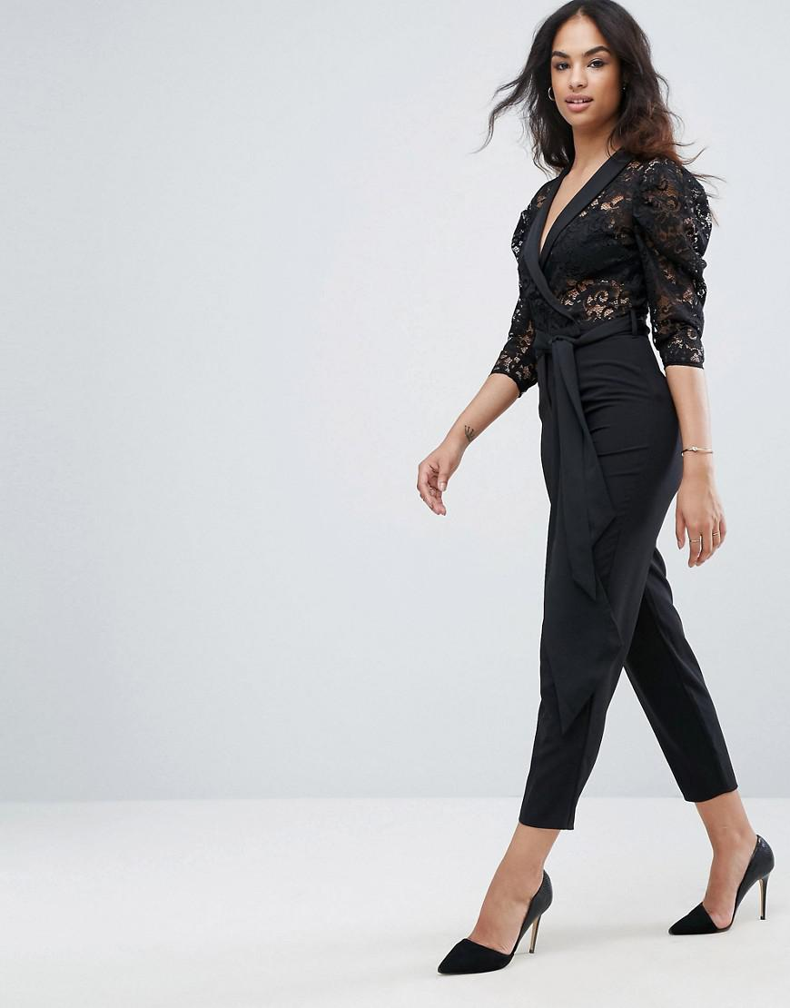 a5081b31dd Asos Asos Tux Jumpsuit In Lace With Satin Trims in Black - Lyst
