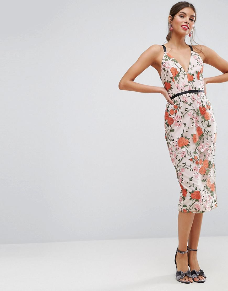 81d72cad484 Asos Salon Embroidered Floral Midi Dress With Contrast Straps ...
