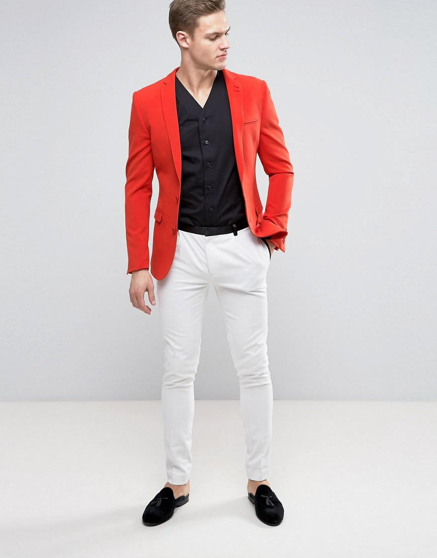 Lyst - Asos Super Skinny Prom Suit Jacket In Tomato Red in Red for Men
