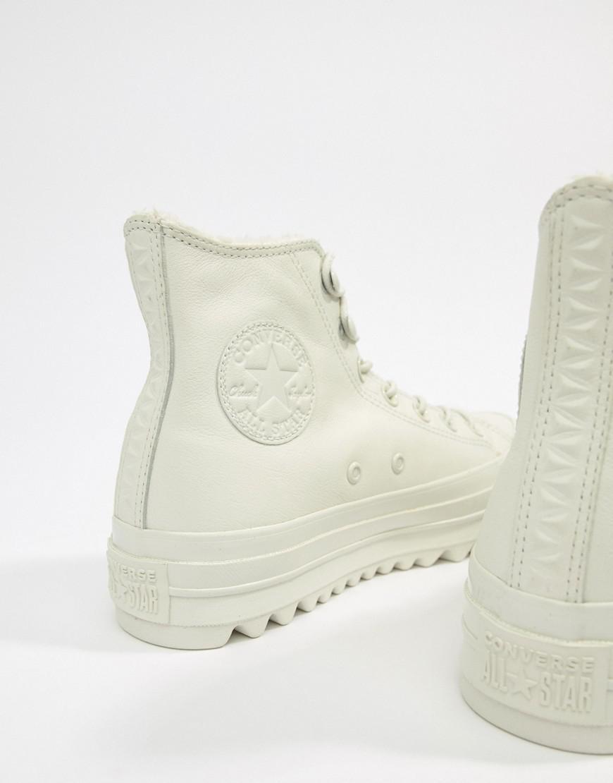 d3595b79fbc Lyst - Converse Chuck Taylor Lift Ripple Hi White Borg Sneakers in White