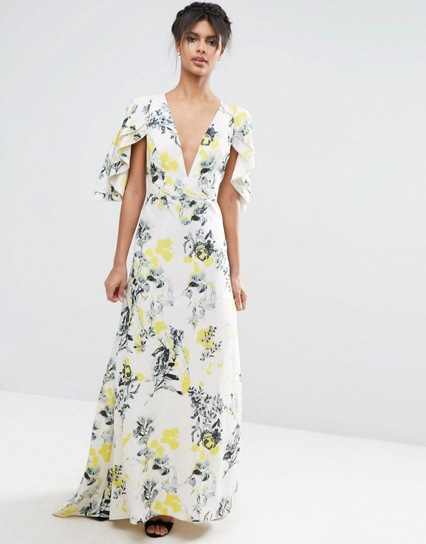 ca2637424a Lyst - ASOS Ruffle Cape Deep Plunge Floral Maxi Dress