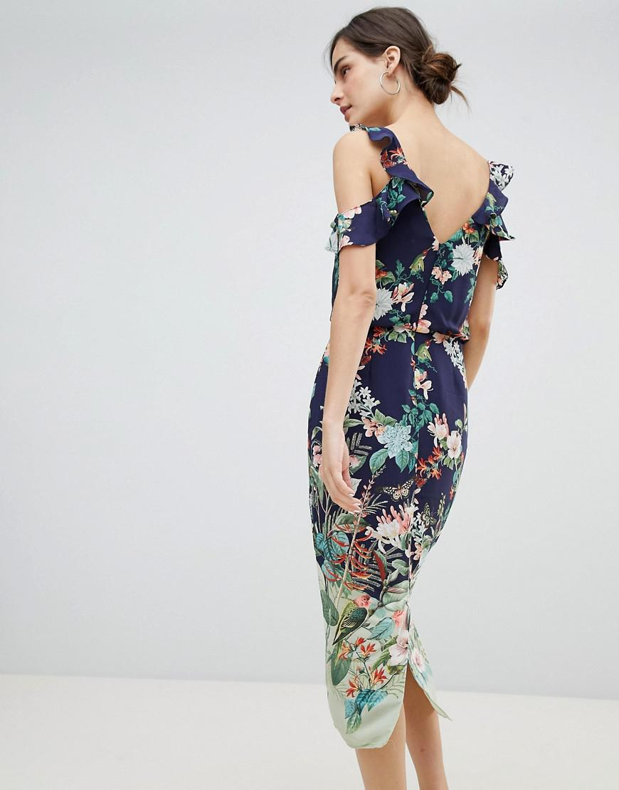 7064119ee422 Oasis Fitzwilliam Cold Shoulder Floral Print Midi Dress in Blue - Lyst
