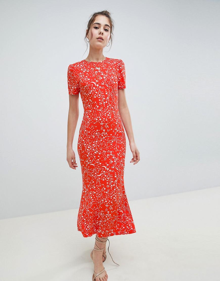 242a8b30066 ASOS City Maxi Tea Dress In Star Print in Red - Lyst