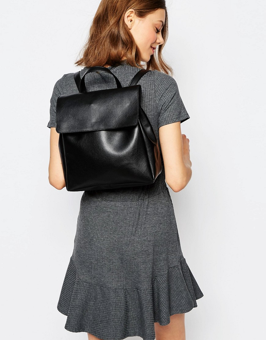 Pieces Simple Foldover Backpack in Black