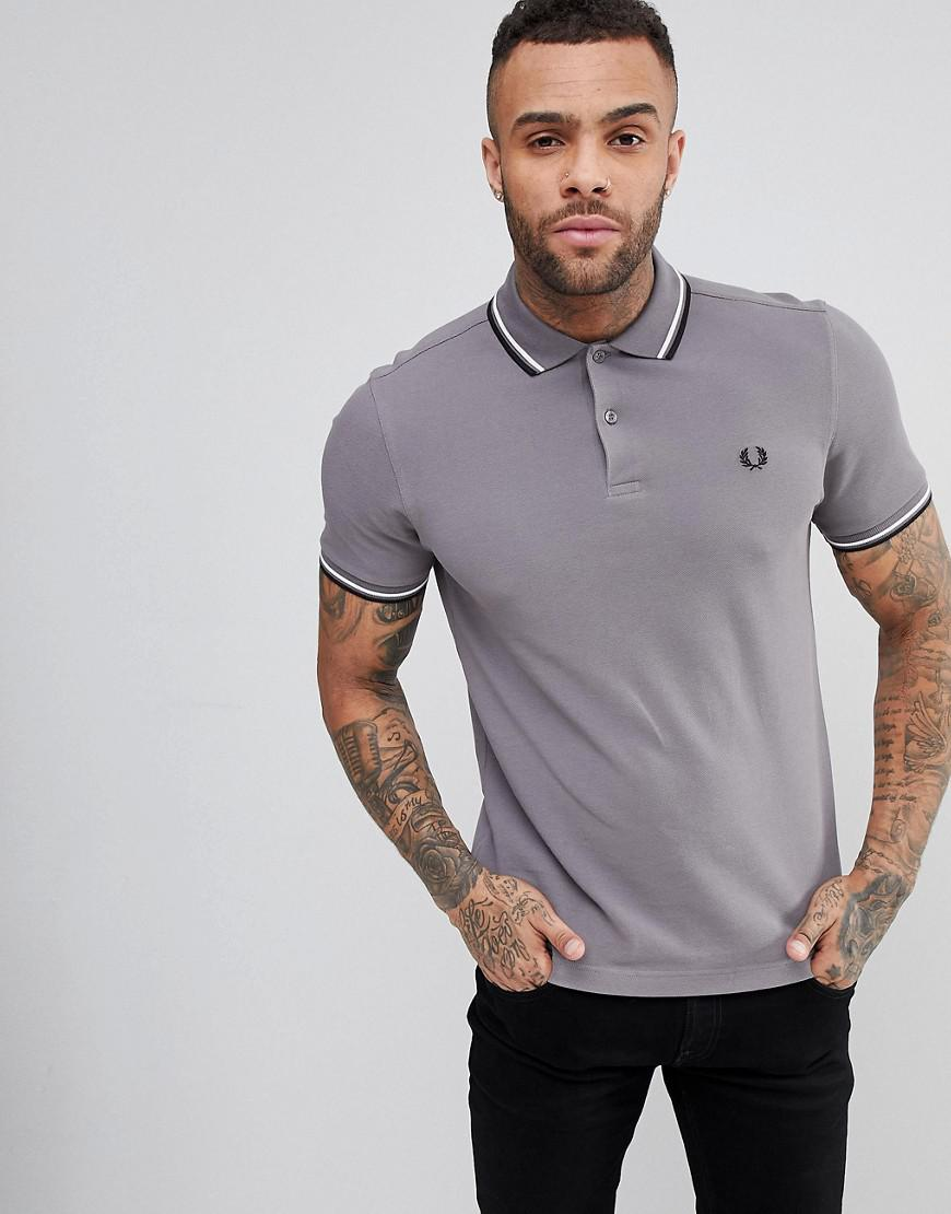 9b0758b89 Lyst - Fred Perry Slim Fit Slim Fit Twin Tipped Polo Shirt In Gray ...