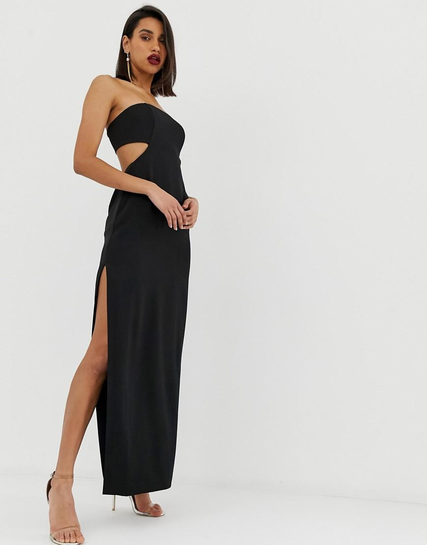 e4a862bb5c18 Lyst - ASOS Bandeau Column Dress With Cut Out Back in Black