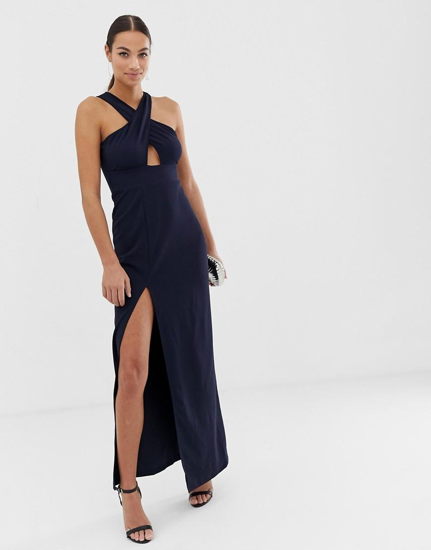 248fa21ad36 AX Paris Cut Out Detail Thigh Split Maxi Dress in Blue - Lyst