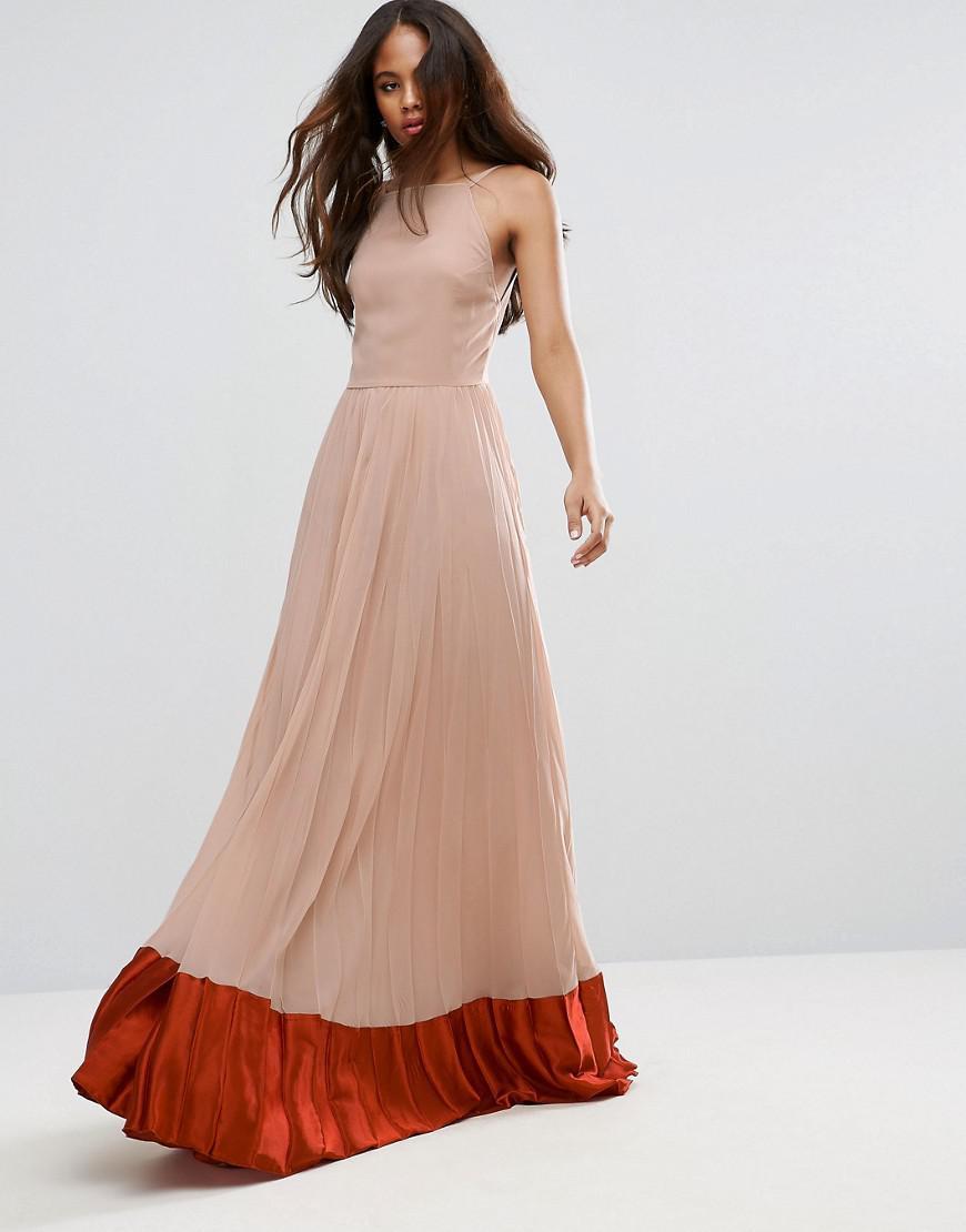 Pleated Satin Maxi Dress - THAHAB QA
