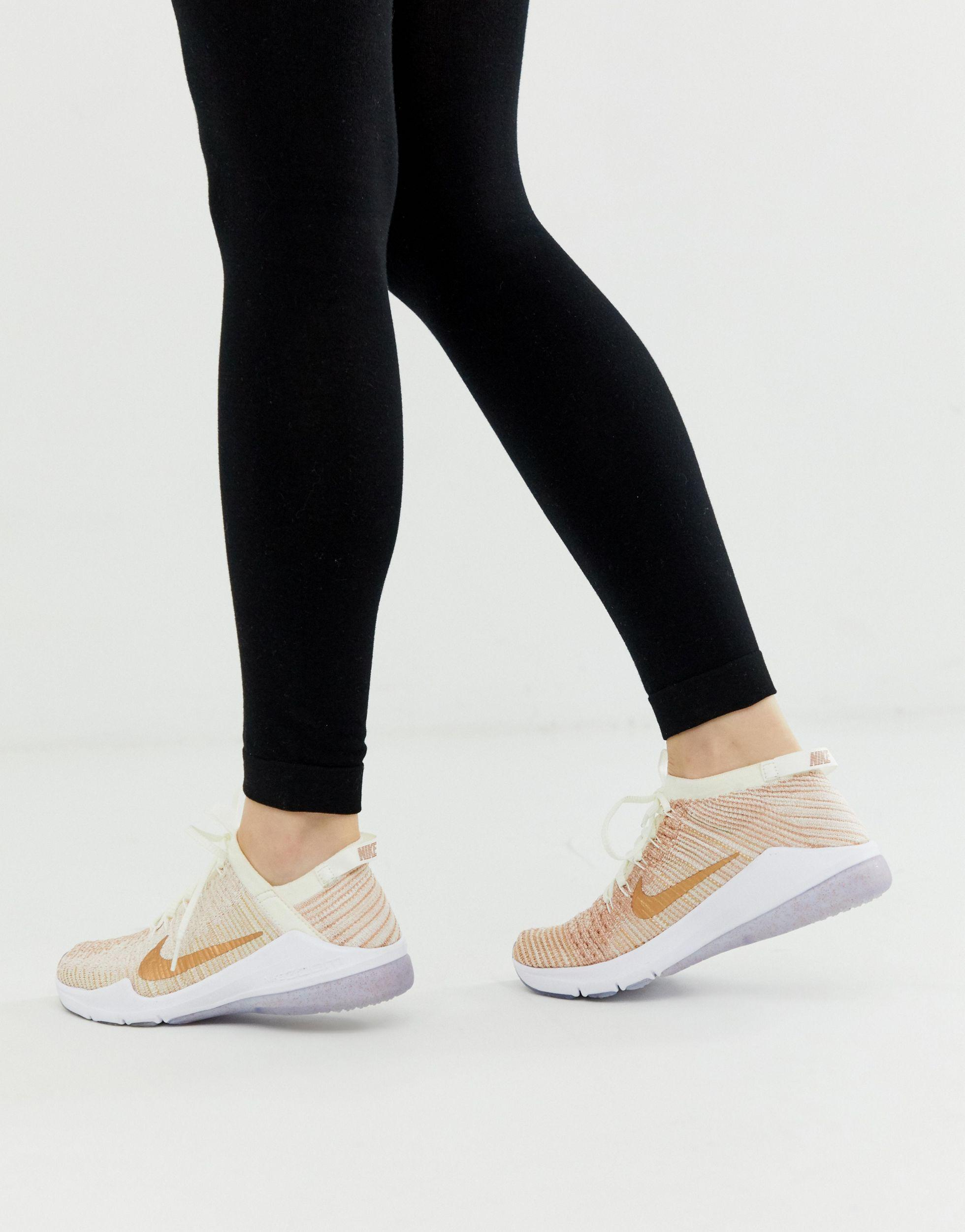 nike training air zoom fearless trainers in rose gold