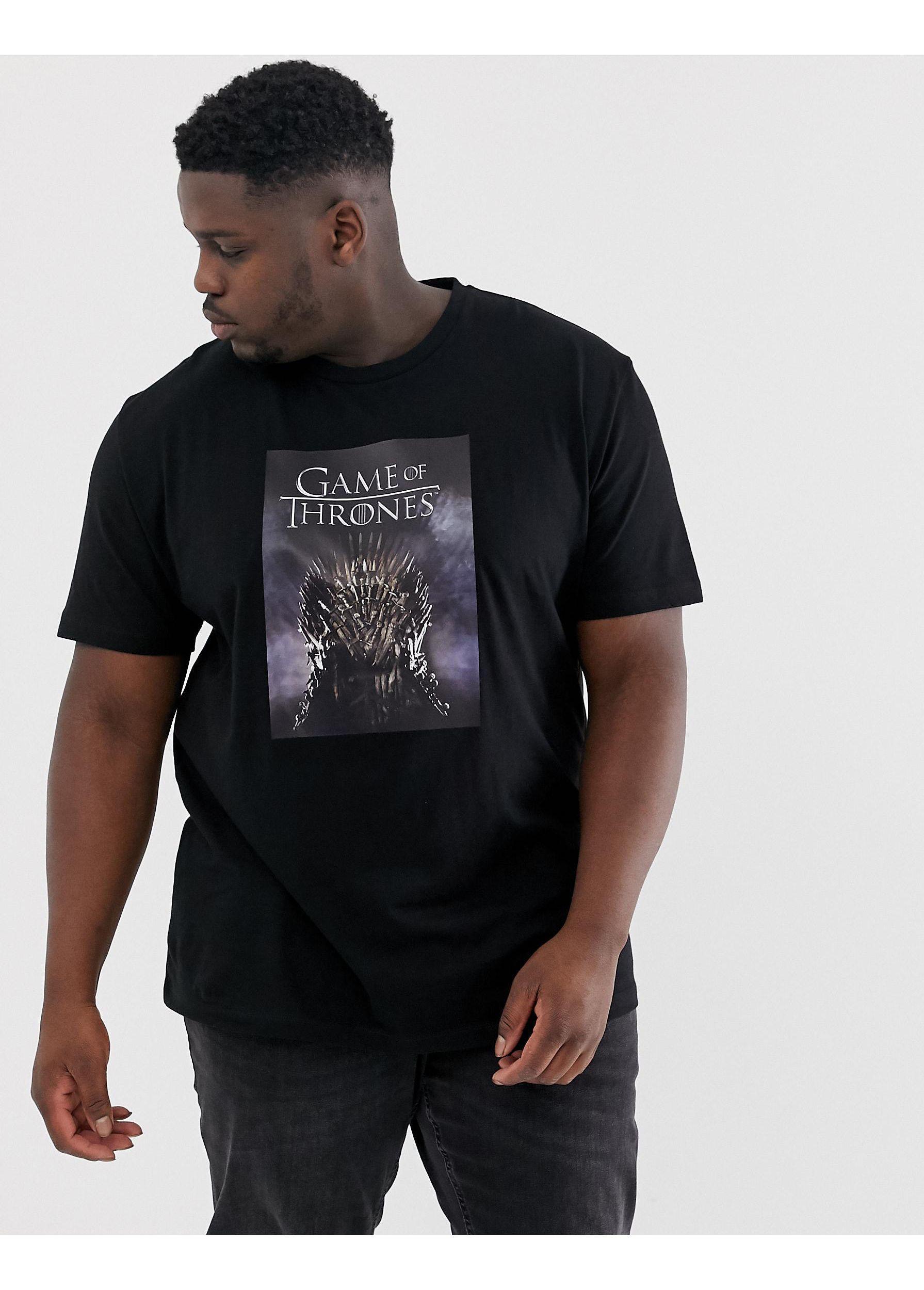 ASOS Katoen Plus - Game Of Thrones - Ruimvallend T-shirt in het Zwart voor heren