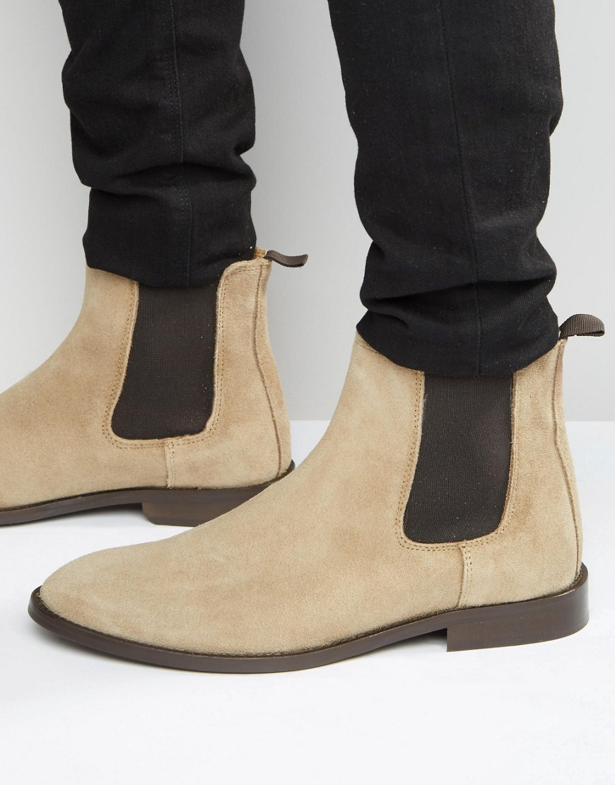 Lyst Asos Chelsea Boots In Stone Suede With Back Pull In