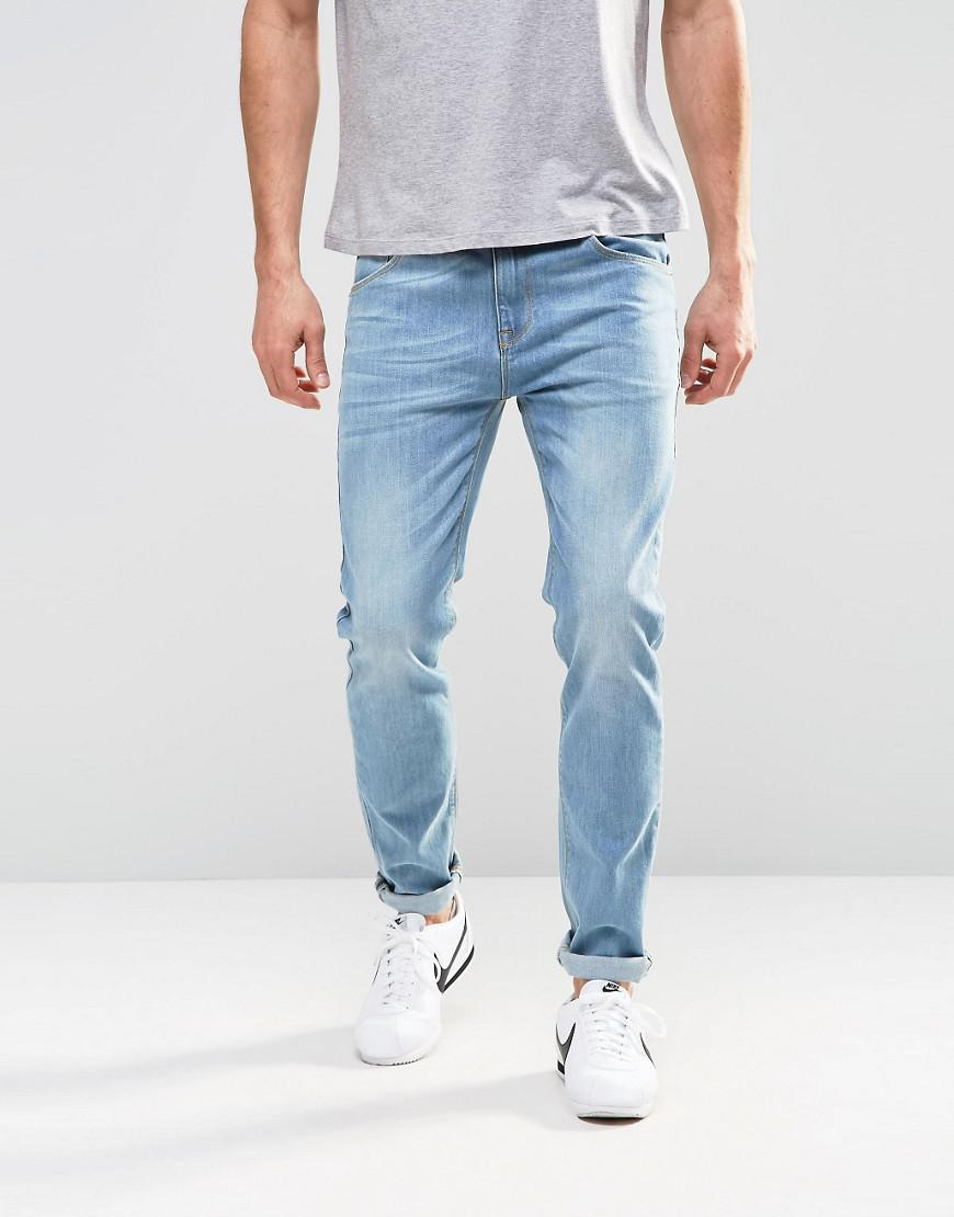 DESIGN Slim Jeans In Light Wash Blue With Western Embroidery - Light wash blue Asos h4mc7K6bB