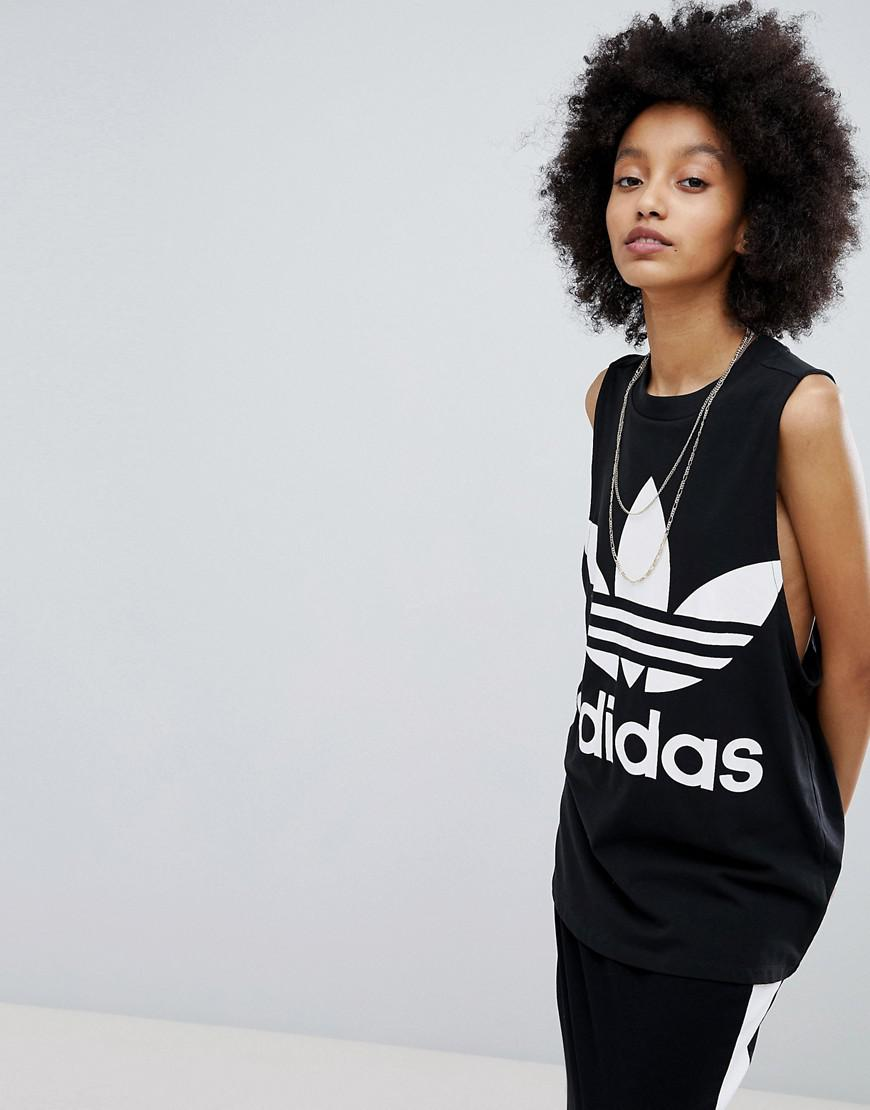 adicolor Big Trefoil Tank Top In Black - Black adidas Originals Buy Cheap Professional Cheap Sale Enjoy 9caeWSF