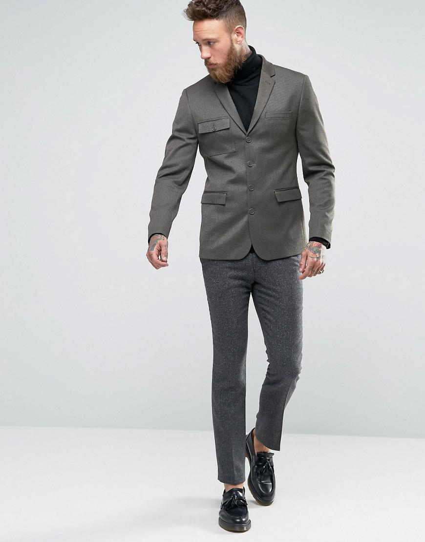 ASOS Synthetic Skinny Blazer With Military Styling In Khaki in Green (Grey) for Men