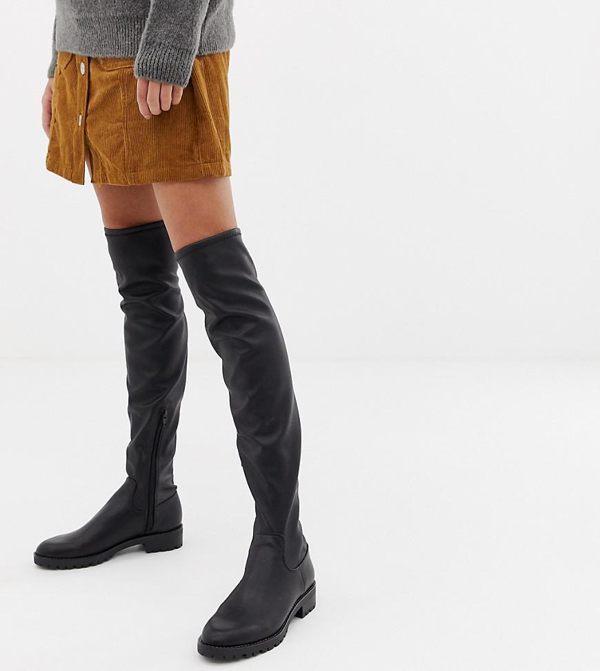 Stradivarius Denim Knee High Boot in