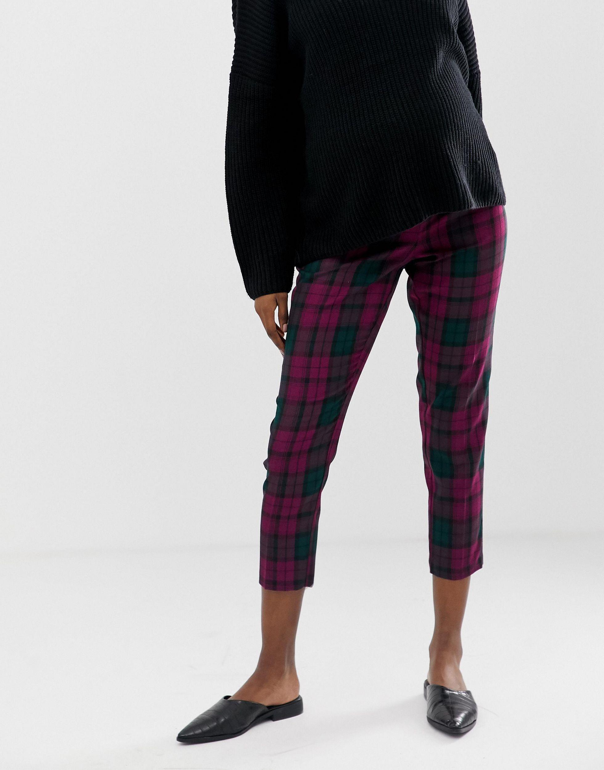 ASOS DESIGN Maternity - Ultimate - Pantalon taille haute longueur cheville - Carreaux violets Jean ASOS en coloris Noir