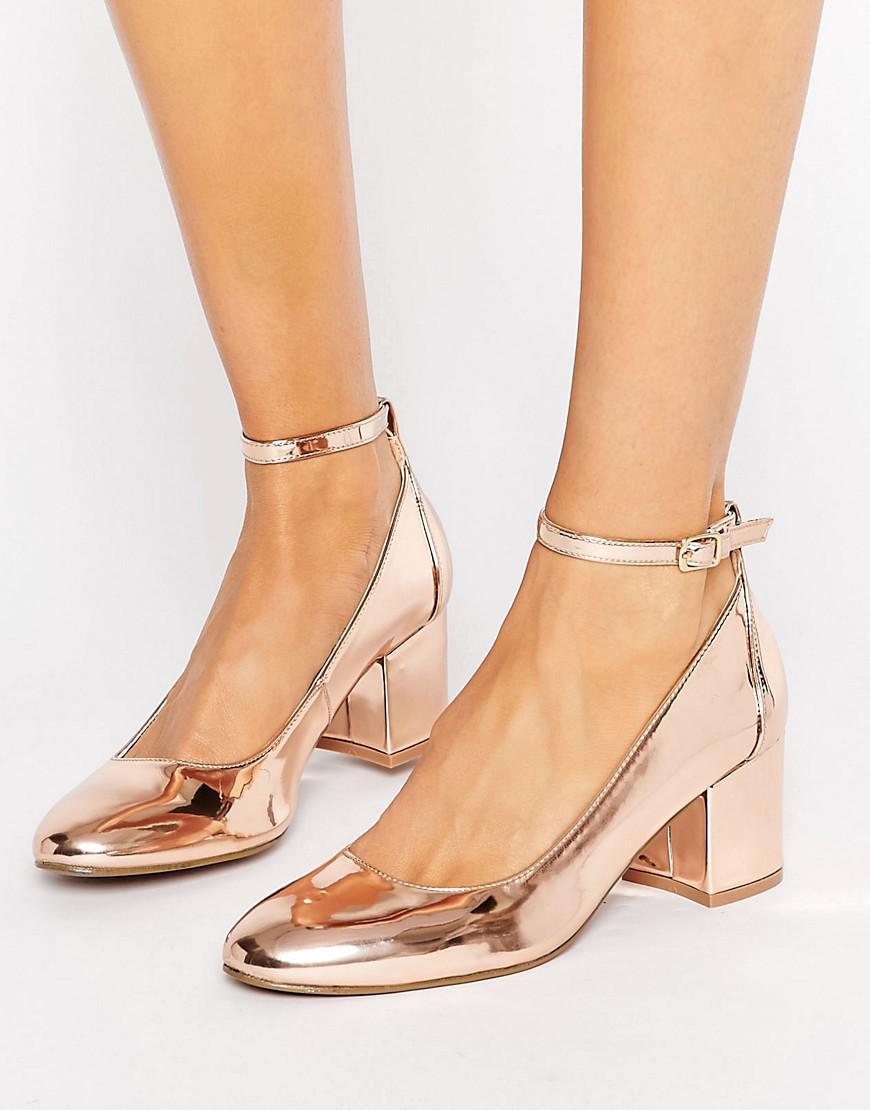 Lyst - London Rebel Rose Gold Mid Heel Shoe d522e2334