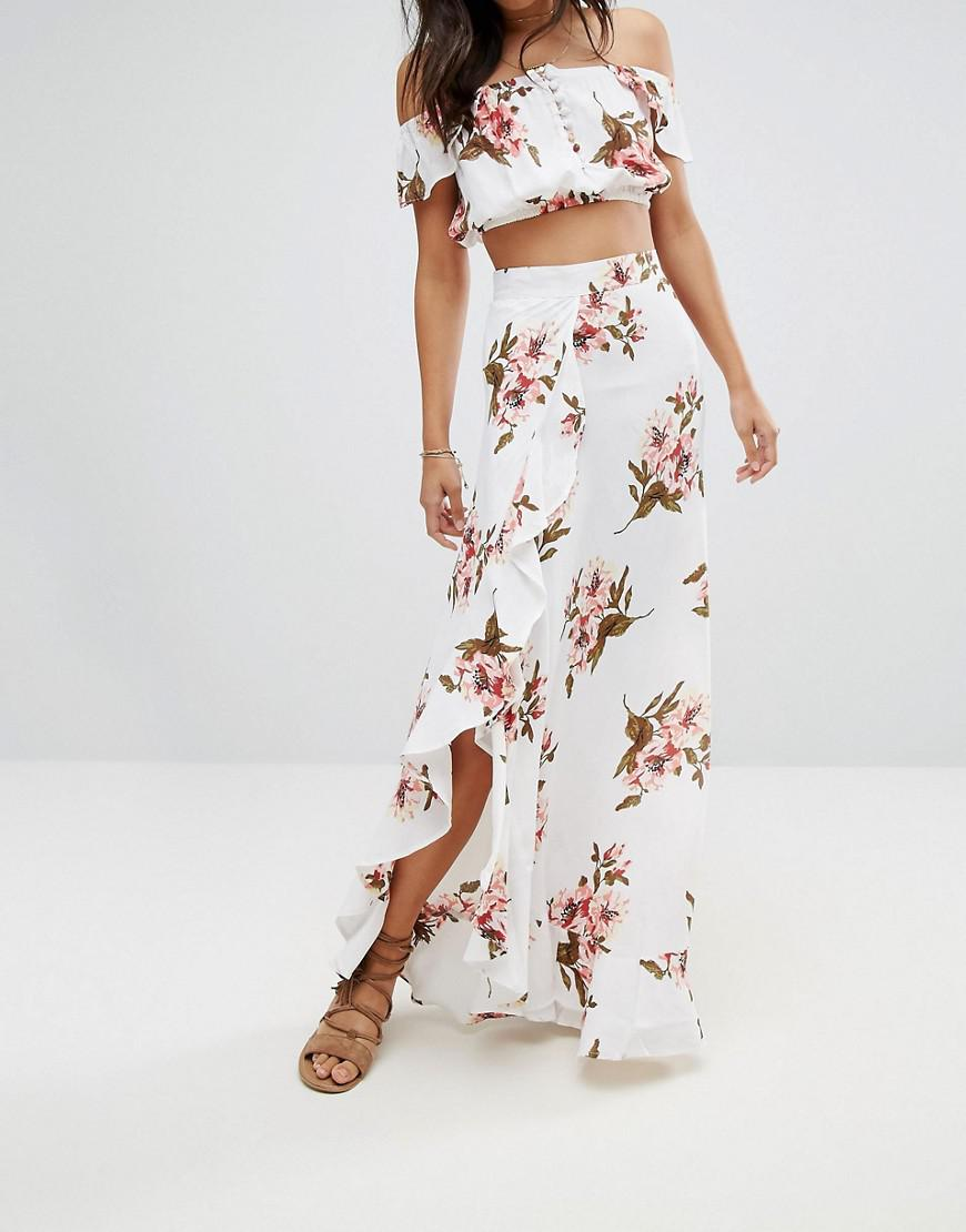 84949b206 Flynn Skye Floral Maxi Skirt Co-ord With Ruffle And Side Split - Lyst