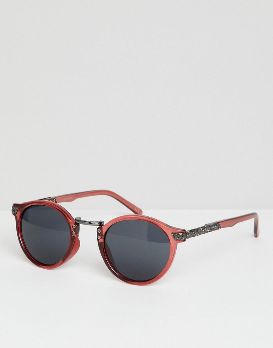 e2af04bae2a ASOS Vintage Round Sunglasses In Crystal Burgundy in Red for Men - Lyst