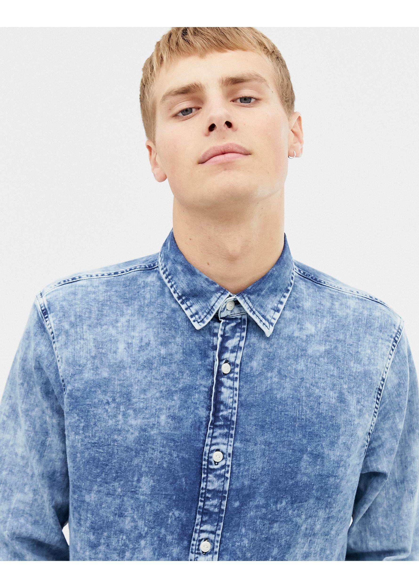 Hollister Denim Overhemd in het Blauw voor heren