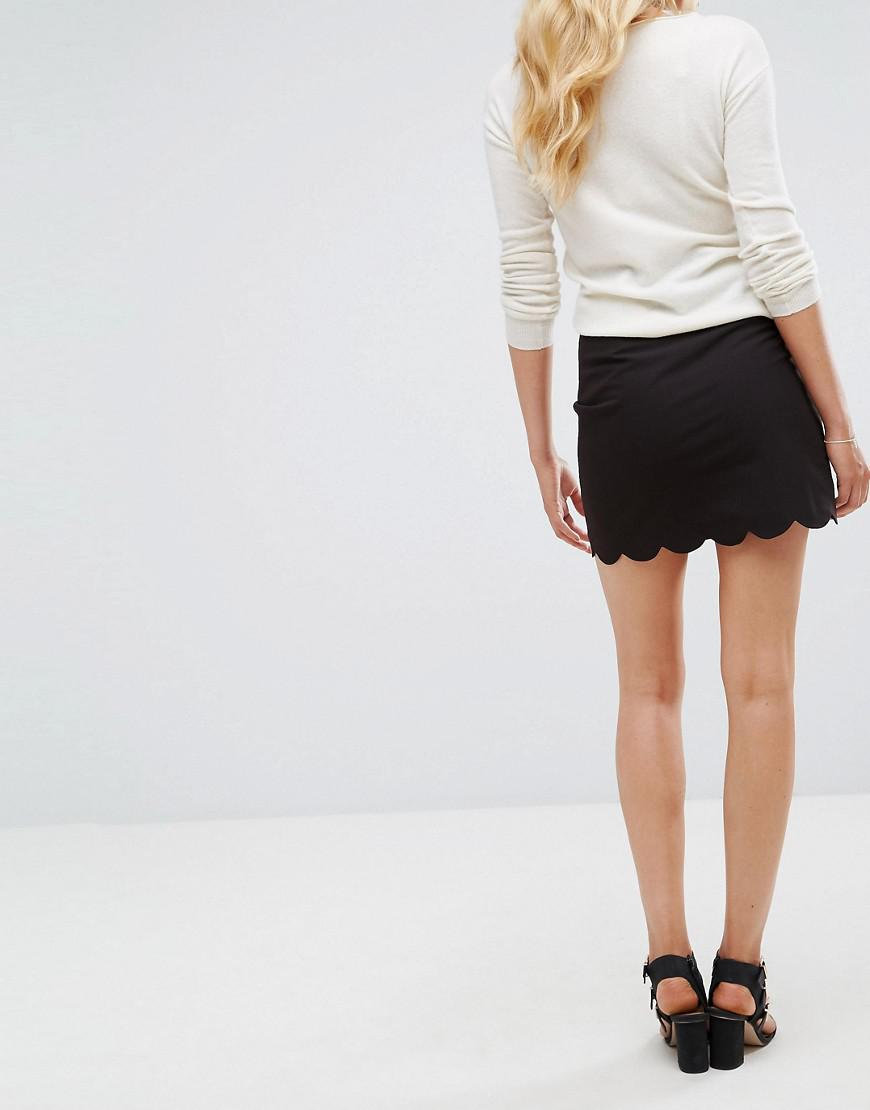 bd801b1adb ASOS Asos Design Tall Tailored A-line Mini Skirt With Scallop Hem in Black  - Lyst
