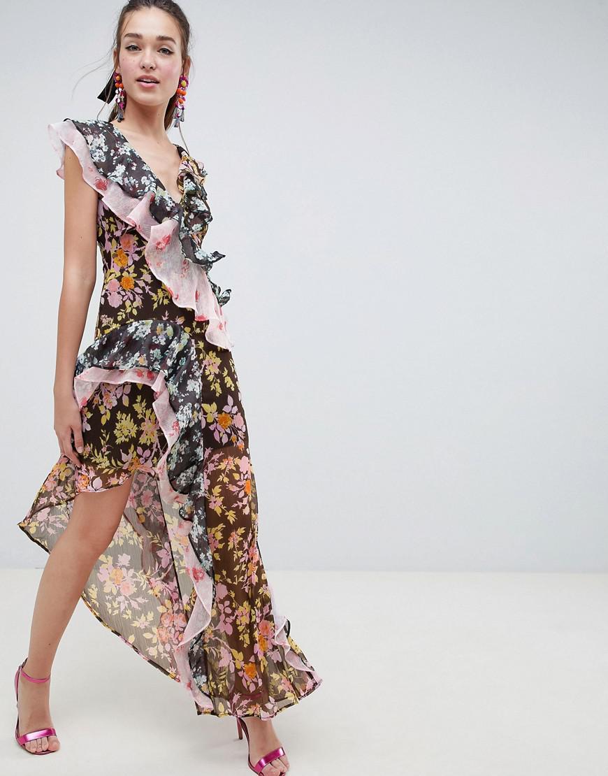 2d9fa032488 ASOS Mixed Floral Print Ruffle Asymmetric Maxi Dress in Red - Lyst