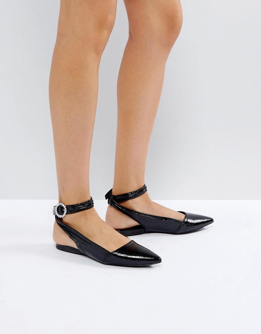 Chaussures Plates Bling Boucle Brevet Bride À La Cheville - Nouveau Look Noir oIG09wlc