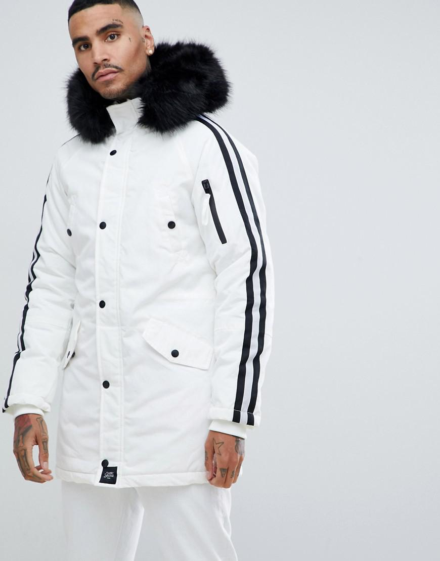 78fb97f3600f0 Sixth June Parka Coat In White With Black Faux Fur Hood in White for ...
